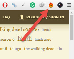 Hola icon in the browser toolbar