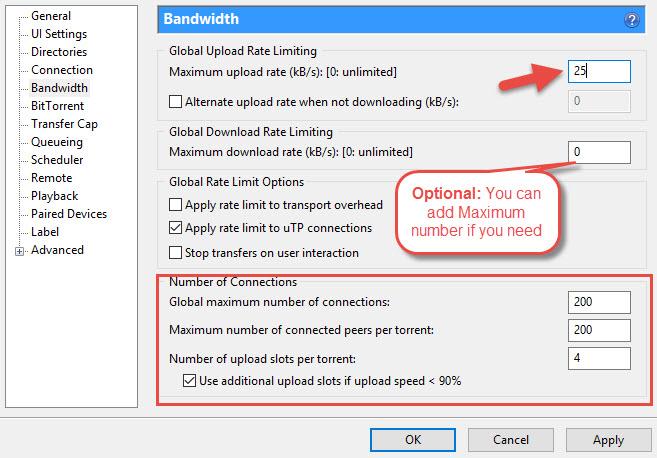 uTorrent BandWidth Tab Settings